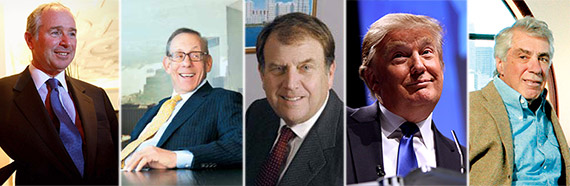 From left: Stephen Schwarzman, Stephen Ross, Richard LeFrak, Donald Trump and David Walenta