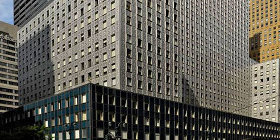 The base of the Mobil Building at 150 East 42nd Street, where Mount Sinai has about 450,000 square feet