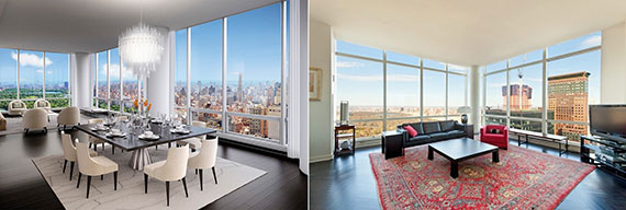 From left: a unit at One57 and a unit at the Park Imperial