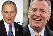 From left: Michael Bloomberg and Bill de Blasio