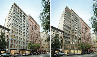From left: approved design for 207 West 79th Street and original design