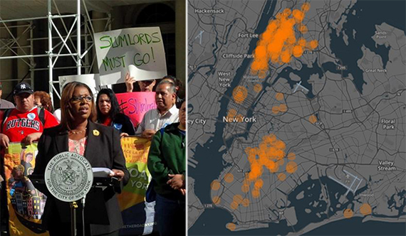 From left: Letitia James and map of 2014 Worst Landlords list