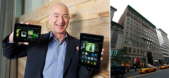 From left: Amazon CEO Jeff Bezos and 7 West 34th Street