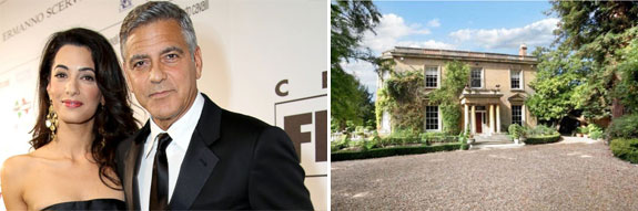 George Clooney and Amal Alamuddin and their new home in village of Sonning, about 40 miles from Central London.