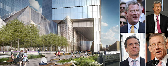 From left: rendering of Hudson Yards, Bill de Blasio, Jamie Dimon, Stephen Ross and Andrew Cuomo