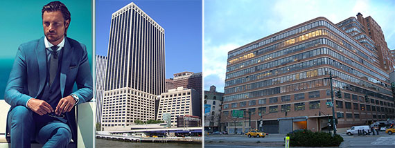 From left: a Hugo Boss ad, 55 Water Street and the Starrett-Lehigh Building