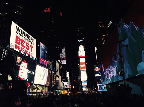 Times Square on Tuesday night