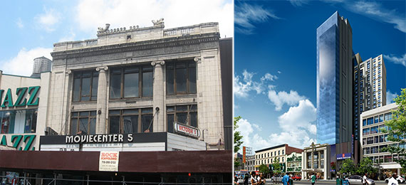 From left: the Victoria Theater and rendering of the upcoming hotel at the site