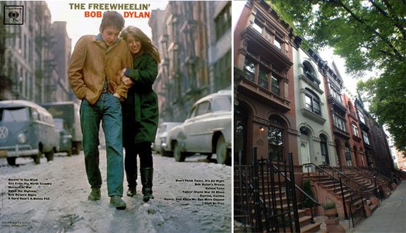 """Jones Street as featured on Bob Dylan's """"The Freewheelin'"""" and Arlington Place in Bed-Stuy"""