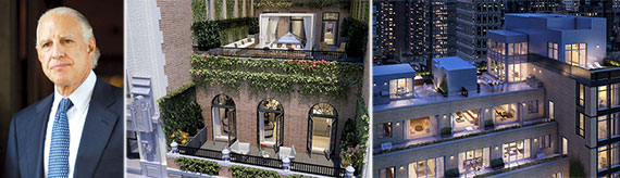 From left: Edward Minskoff, rendering of the penthouse at The Whitman and a rendering of 21 West 20th Street