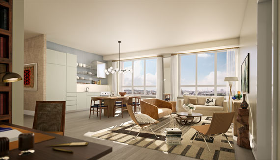 Rendering of a living room at The Boerum