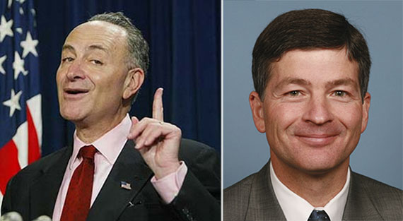 From left: Chuck Schumer and Jeb Hensarling