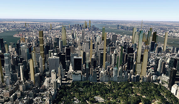 Rendering of Manhattan's projected skyline in 2018 (Photo: CityRealty)