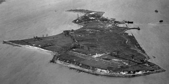 An aerial view of Hart Island