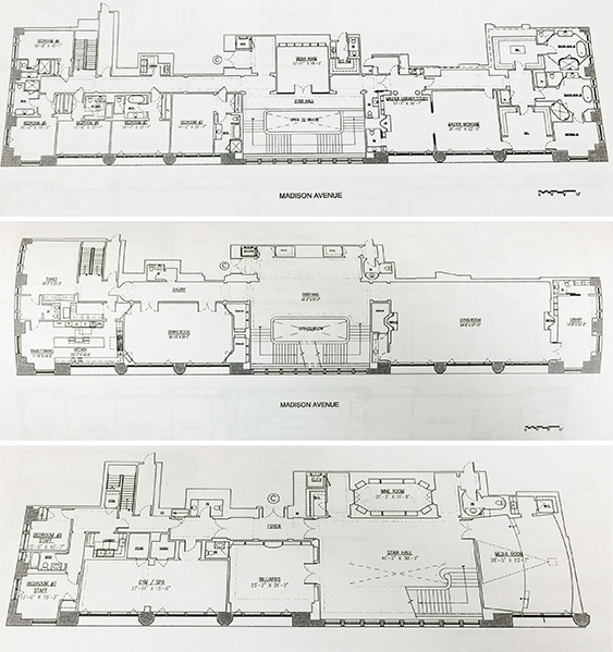 From left: The upper level, middle level and lower level of