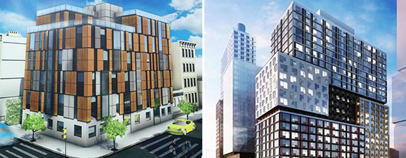 Renderings of 420 Tompkins Avenue and 30 Sixth Avenue in Brooklyn (credit from left: Charles Mallea, SHoP)