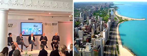 Jane Wooldridge, David Friedman, Craig Robins, Howard Lorber and Horacio Silva at the panel discussion, and the Miami skyline