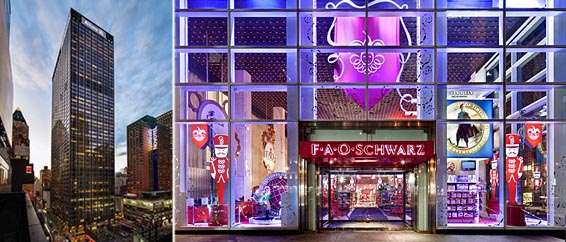 From left: 1633 Broadway and FAO Schwarz at 767 Fifth Avenue