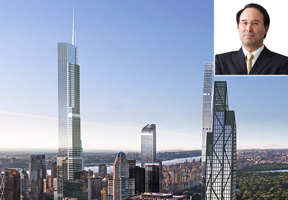 Rendering of 217 West 57th Street (left; credit: NY YIMBY) and Gary Barnett (inset)