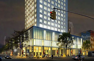 Rendering of a new hotel at 301 West 46th Street in Midtown