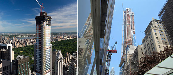 From left: 432 Park under construction and One57 under construction in Midtown East