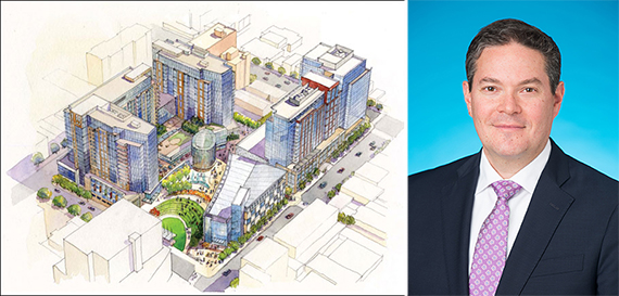 A rendering of Flushing Commons and Michael Goldban