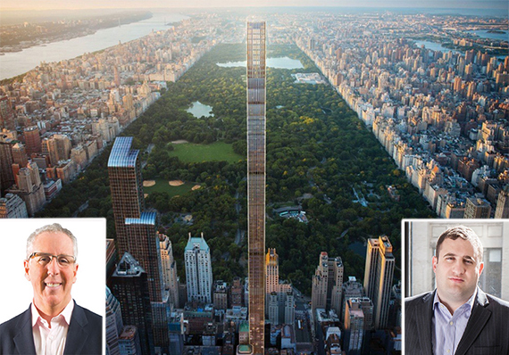 Renderingof 111 West 57th Street (credit: Hayes Davidson/SHoP Architects) (inset: Kevin Maloney and Michael Stern)