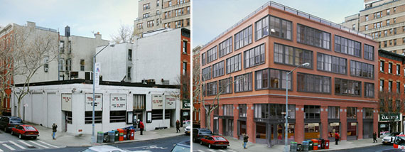 From left: Brooklyn Heights Cinema at 70 Henry Street and a rendering of the new project there (Credit: Morris Adjmi)