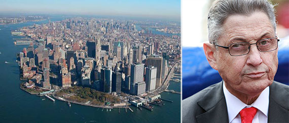 From left: Downtown Manhattan and Sheldon Silver