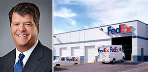 From left: Flint McNaughton and a FedEx distribution center