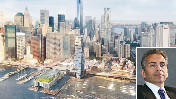 Rendering of South Street Seaport development (credit: SHoP Architects) (inset: Howard Hughes Corp. CEO David Weinreb)