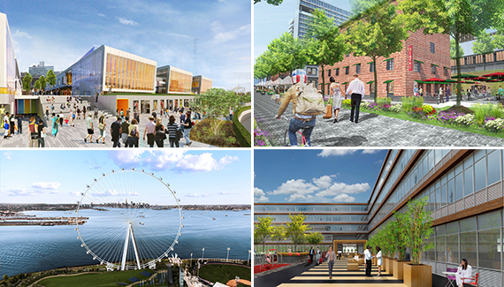 Renderings, clockwise from top left: Empire Outlets, Lighthouse Point, URL Staten Island and the New York Wheel