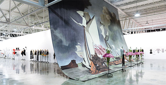 """""""Making Art Dance,"""" one of many installations seen at Mana Contemporary, included a David Salle backdrop and costumes for """"The Elizabethan Phrasing of the Late Albert Ayler,"""" a ballet. Photo by Joe Schildhorn."""