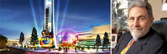 A rendering of the casino and Jeff Gural