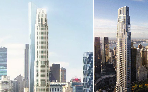 From left: A new rendering of 220 Central Park South and one from 2014 (Credit: Robert A.M. Stern Architects)