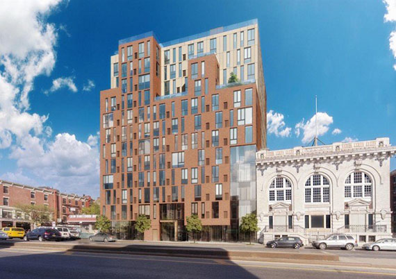 Rendering of 225 Fourth Avenue and the Lyceum in Park Slope (credit: Paperfarm)