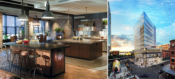 From left: A wellness loft by Delos Living and a rendering of 860 Washington Street in the Meatpacking District