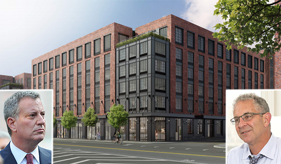 Rendering of 21 Commercial Street in Greenpoint (credit: Handel Architects) (inset: Bill de Blasio and Ron Moelis)