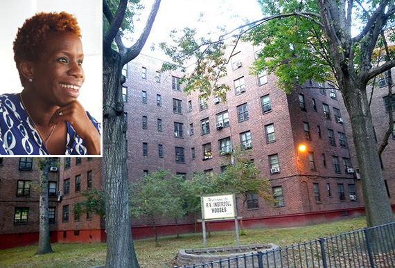 Ingersoll Houses in Fort Greene (inset: NYCHA chair Shola Olatoye)