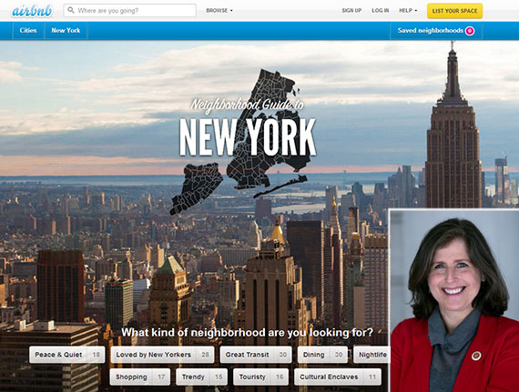The Airbnb website and Manhattan Council member Helen Rosenthal