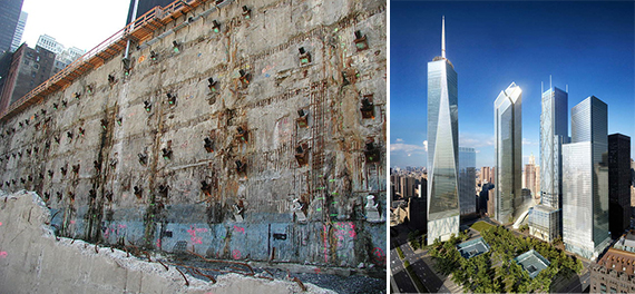 From left: the World Trade Center slurry wall and a rendering of the whole complex