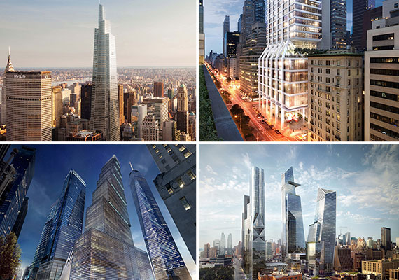 (clockwise from top l.) One Vanderbilt, 245 Park Avenue, Hudson Yards and Two World Trade Center