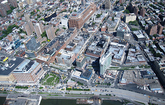 An aerial view of the Meatpacking District