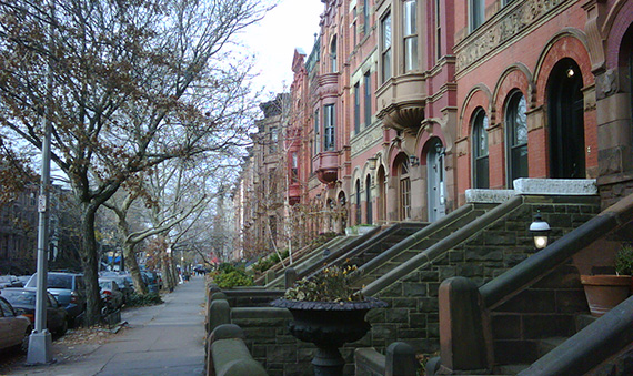 A row of Park Slope townhouses