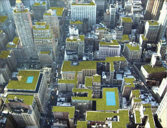 A rendering of green rooftops in Manhattan