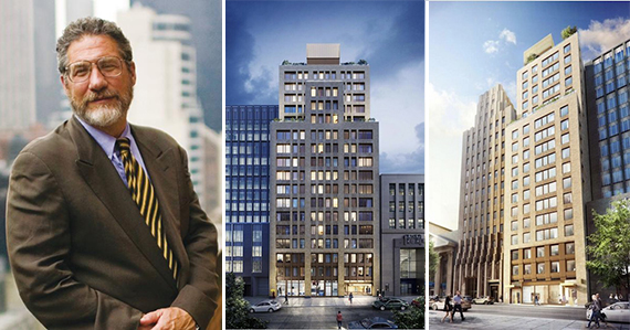 From left: Jonathan Rose and two renderings of 146 Pierrepont-189 Montague (credit: Kilograph)