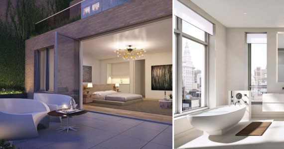 From left: Outdoor living space and a penthouse bathroom at 21W20