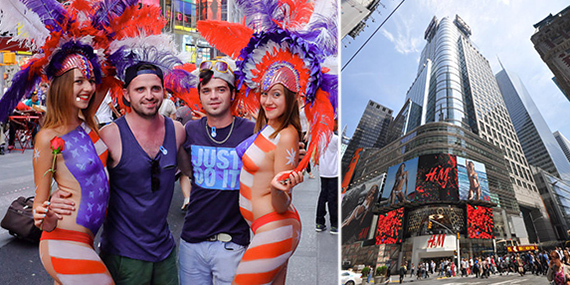 From left: Times Square pedestrian plaza (credit: Steven Pisano/Flickr) and 4 Times Square