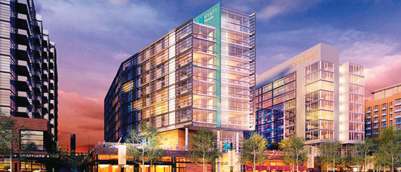 A rendering of the dual-branded hotel to be built at The Wharf.