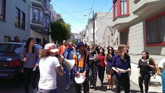 Anti-Airbnb protestors in San Francisco's North Beach neighborhood, in 2014.